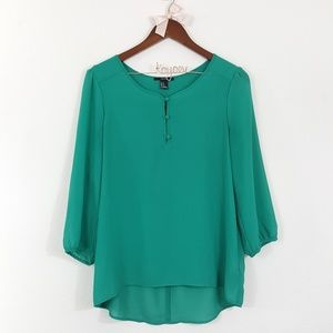 Forever 21 Green Three Button Semi-Sheer Top M